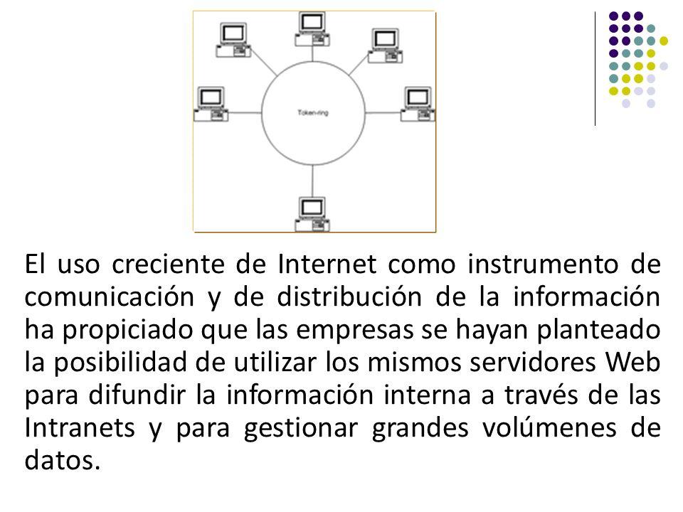 El uso creciente de Internet como instrumento de comunicación y de distribución de la información ha propiciado que las empresas se hayan planteado la posibilidad de utilizar los mismos servidores Web para difundir la información interna a través de las Intranets y para gestionar grandes volúmenes de datos.