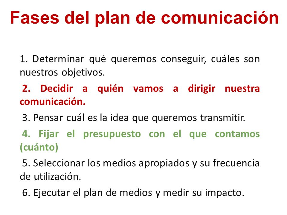 Fases del plan de comunicación