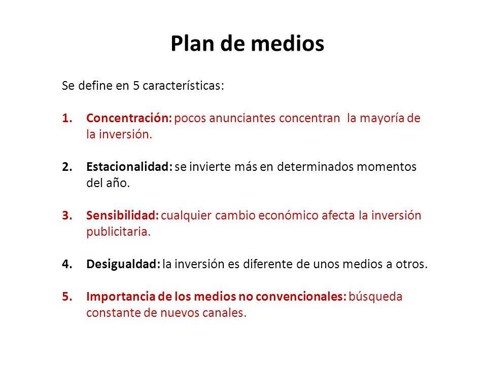 Plan de medios Se define en 5 características: