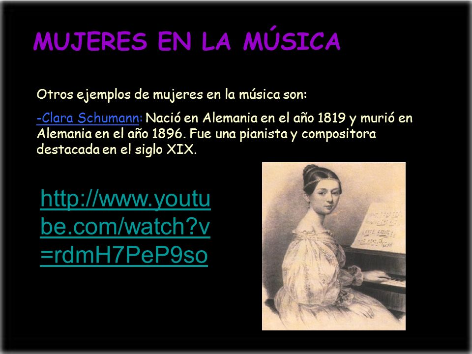 MUJERES EN LA MÚSICA http://www.youtube.com/watch v=rdmH7PeP9so