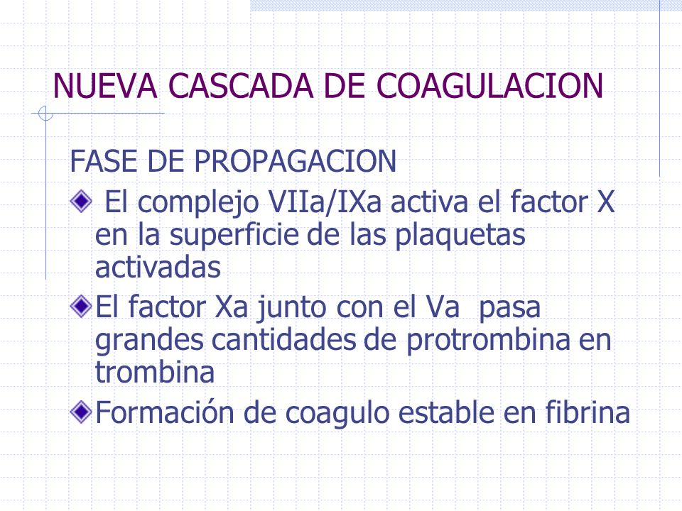 NUEVA CASCADA DE COAGULACION