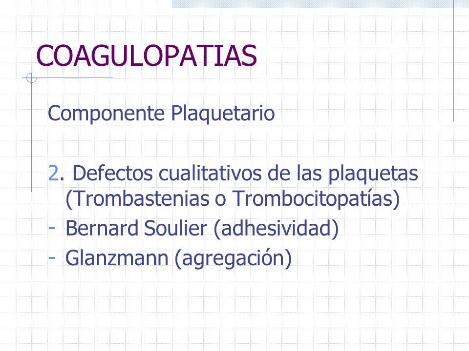 COAGULOPATIAS Componente Plaquetario