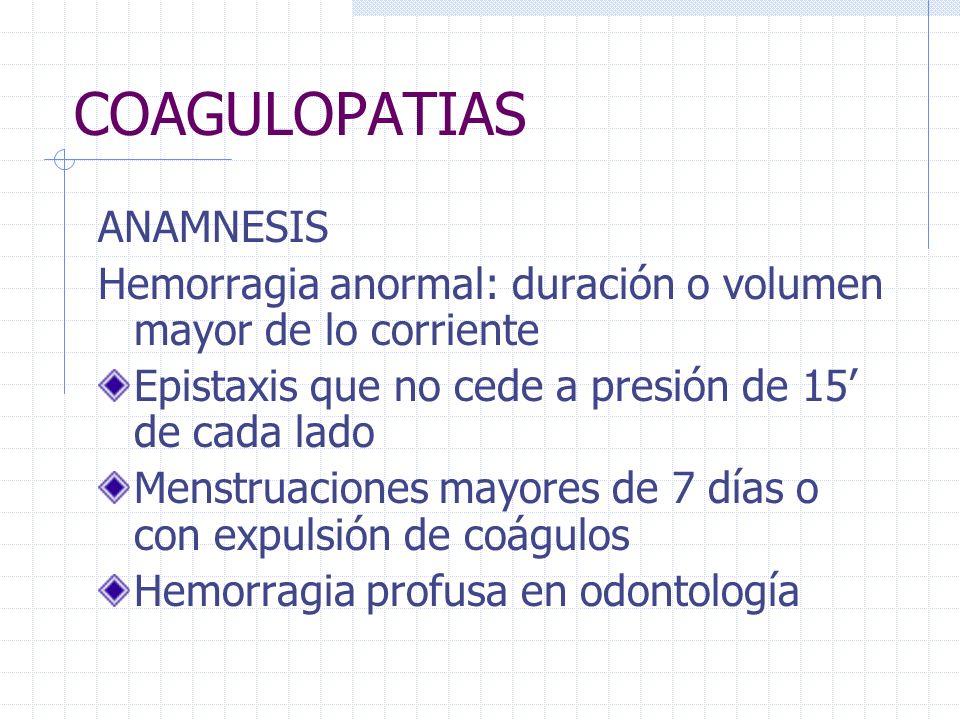 COAGULOPATIAS ANAMNESIS