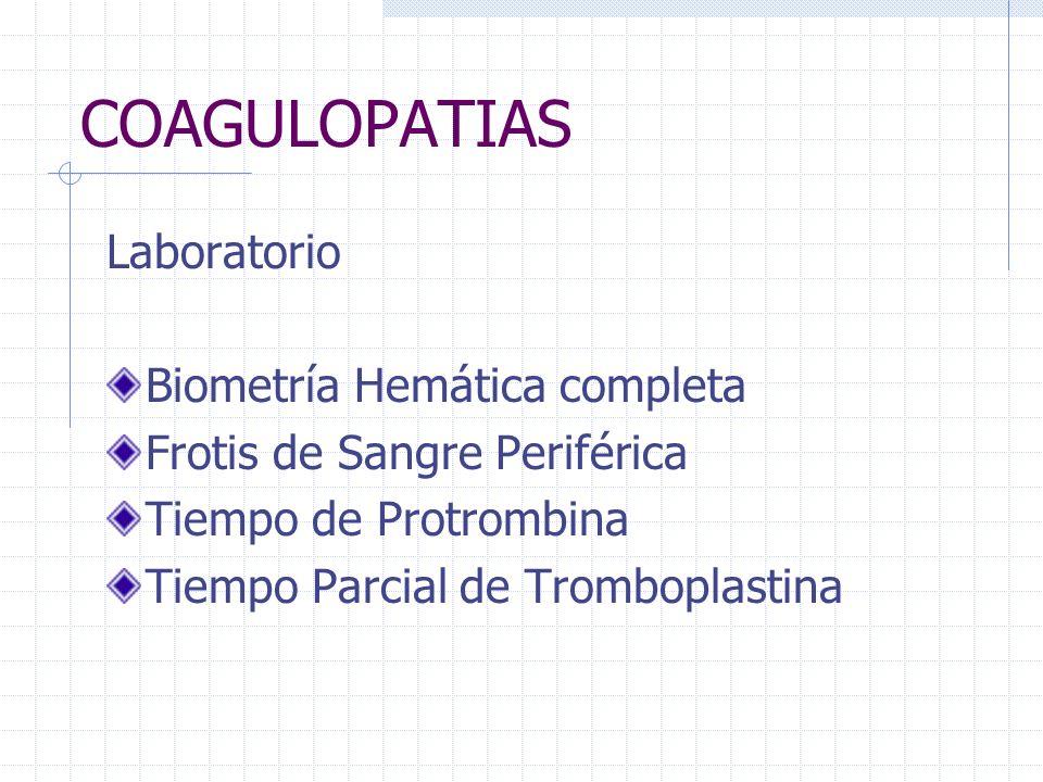 COAGULOPATIAS Laboratorio Biometría Hemática completa