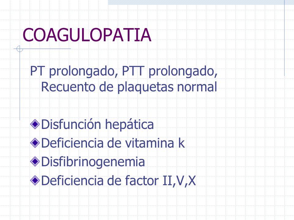 COAGULOPATIA PT prolongado, PTT prolongado, Recuento de plaquetas normal. Disfunción hepática. Deficiencia de vitamina k.