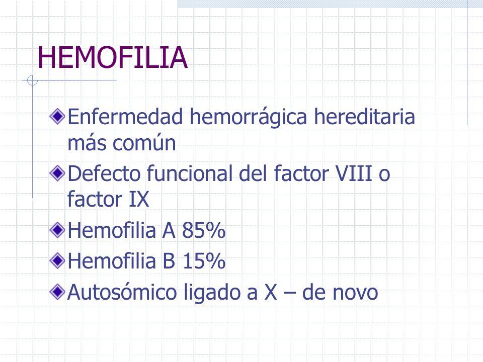 HEMOFILIA Enfermedad hemorrágica hereditaria más común