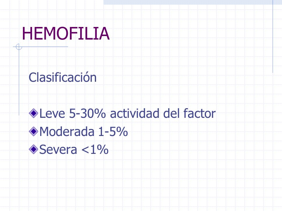 HEMOFILIA Clasificación Leve 5-30% actividad del factor Moderada 1-5%