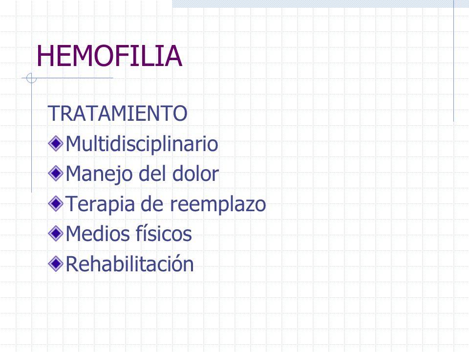 HEMOFILIA TRATAMIENTO Multidisciplinario Manejo del dolor