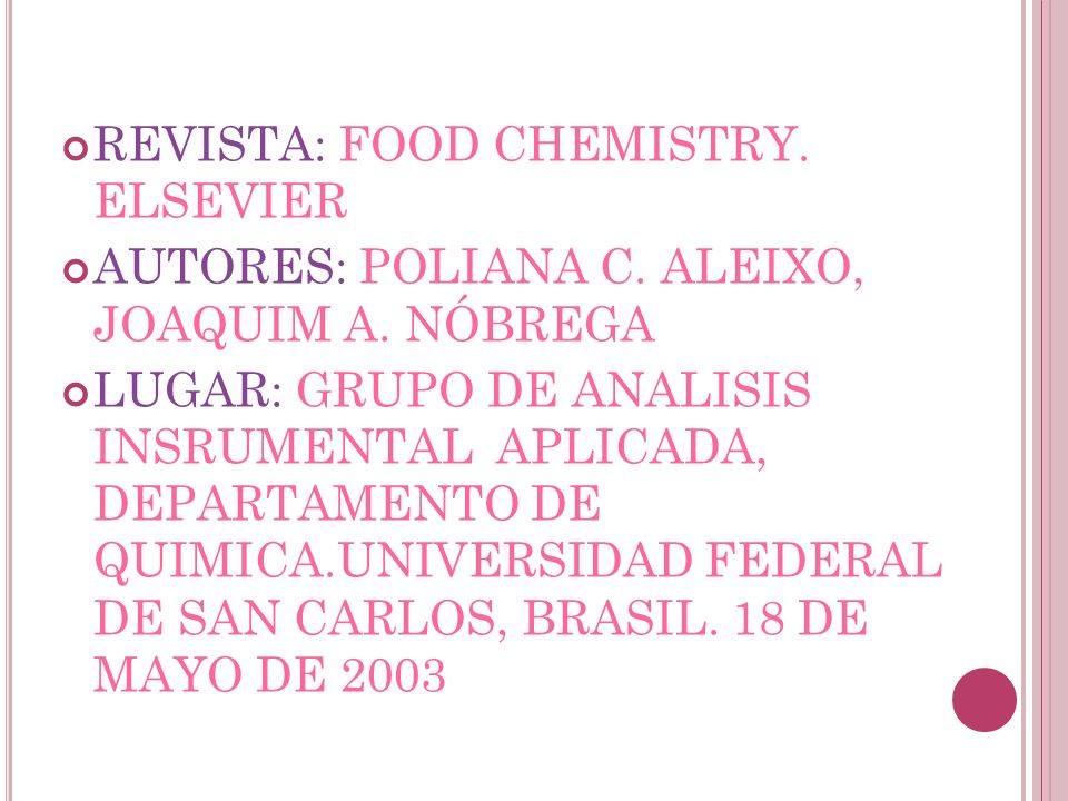 REVISTA: FOOD CHEMISTRY. ELSEVIER