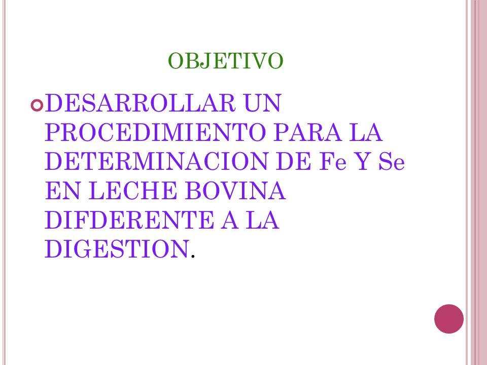 OBJETIVO DESARROLLAR UN PROCEDIMIENTO PARA LA DETERMINACION DE Fe Y Se EN LECHE BOVINA DIFDERENTE A LA DIGESTION.