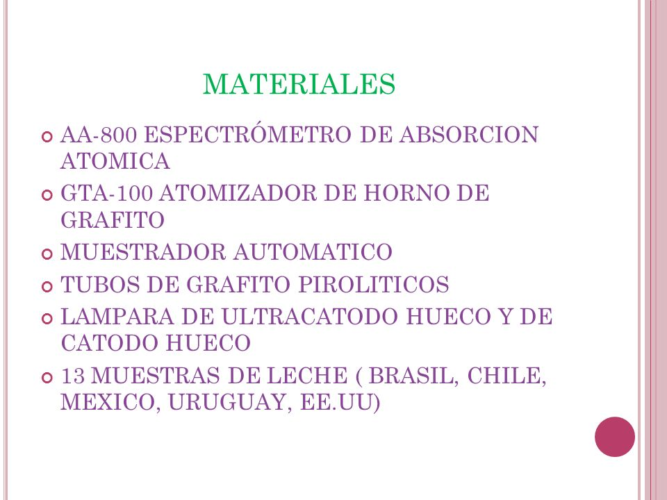 MATERIALES AA-800 ESPECTRÓMETRO DE ABSORCION ATOMICA