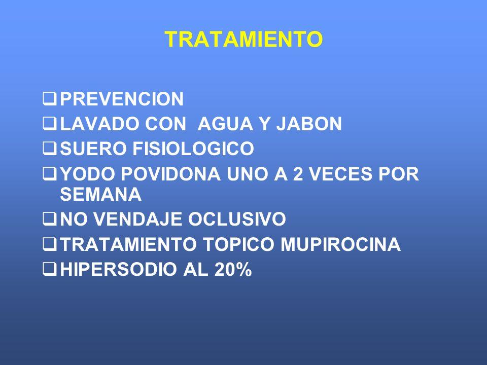 TRATAMIENTO PREVENCION LAVADO CON AGUA Y JABON SUERO FISIOLOGICO