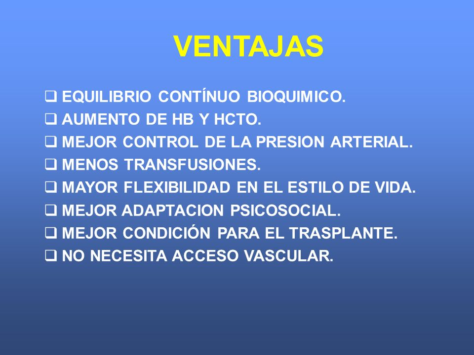 VENTAJAS EQUILIBRIO CONTÍNUO BIOQUIMICO. AUMENTO DE HB Y HCTO.