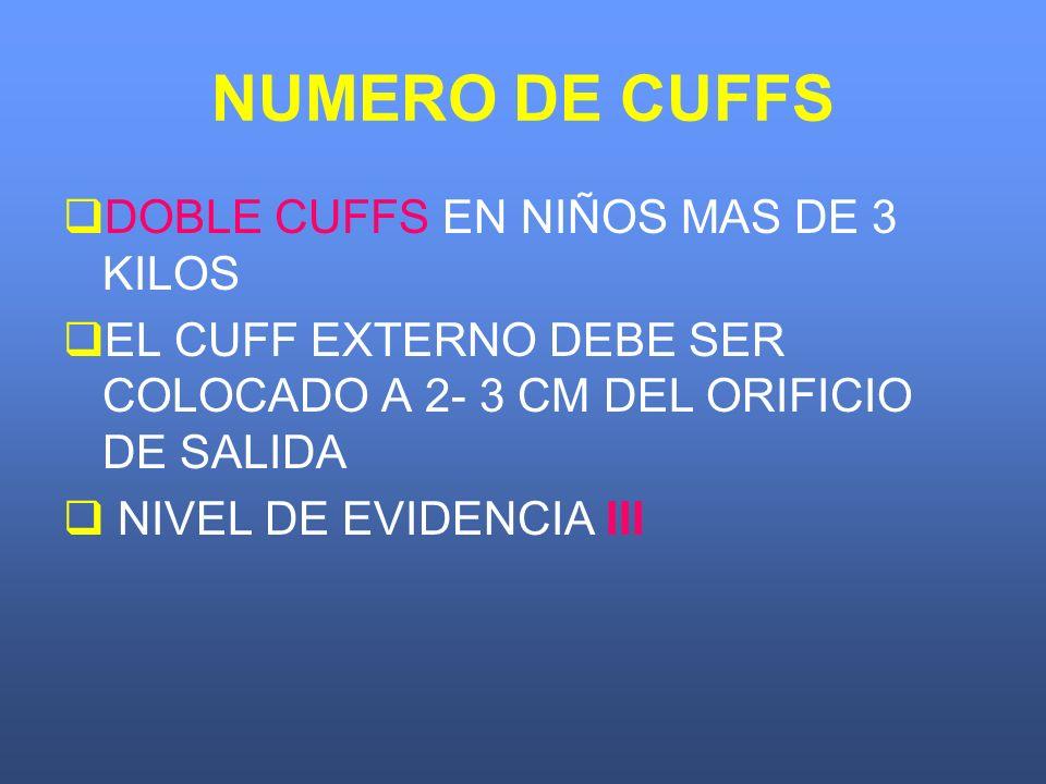 NUMERO DE CUFFS DOBLE CUFFS EN NIÑOS MAS DE 3 KILOS