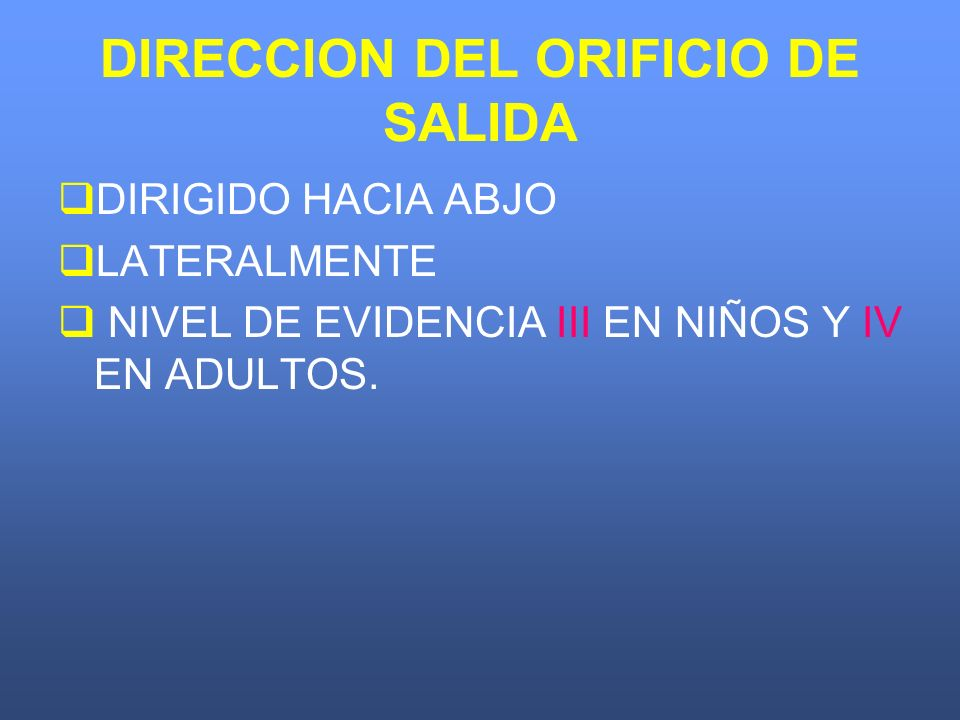 DIRECCION DEL ORIFICIO DE SALIDA