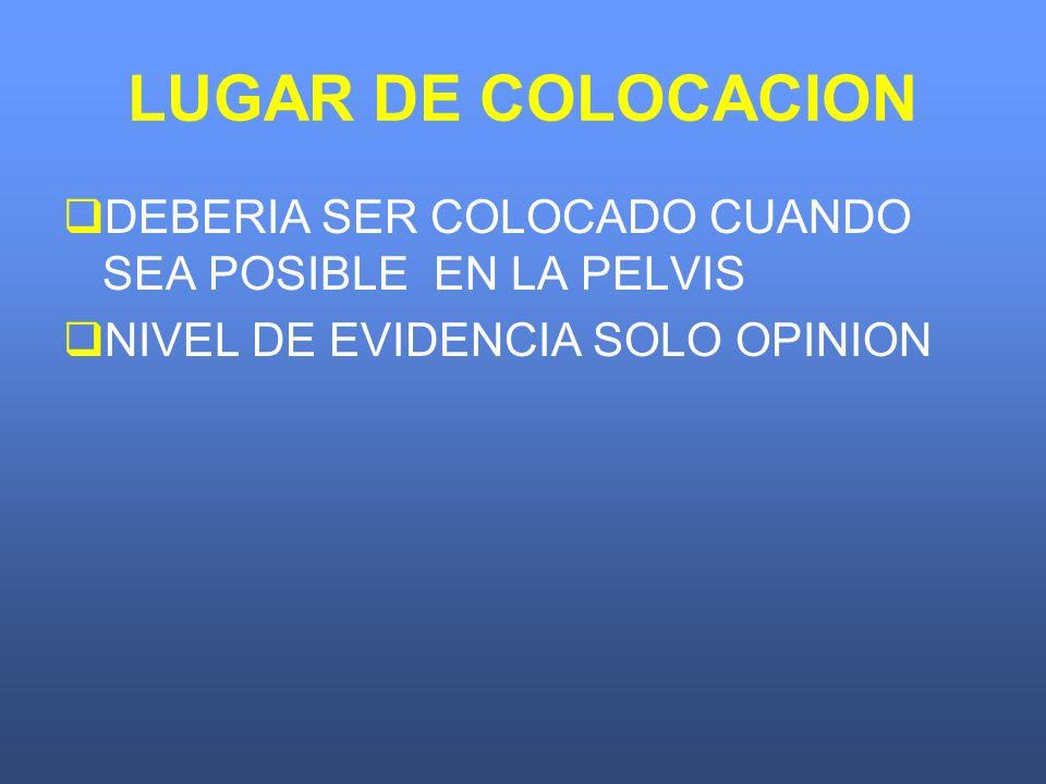 LUGAR DE COLOCACION DEBERIA SER COLOCADO CUANDO SEA POSIBLE EN LA PELVIS.