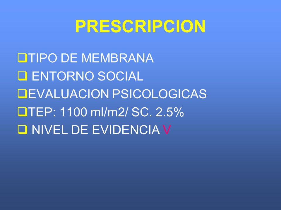 PRESCRIPCION TIPO DE MEMBRANA ENTORNO SOCIAL EVALUACION PSICOLOGICAS