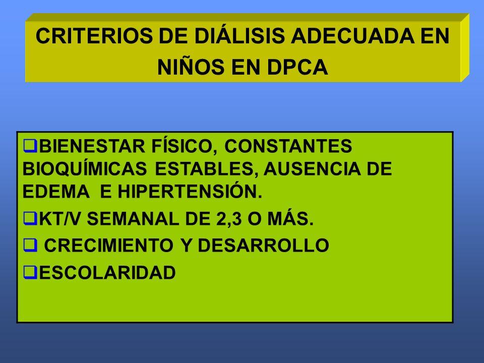 CRITERIOS DE DIÁLISIS ADECUADA EN NIÑOS EN DPCA