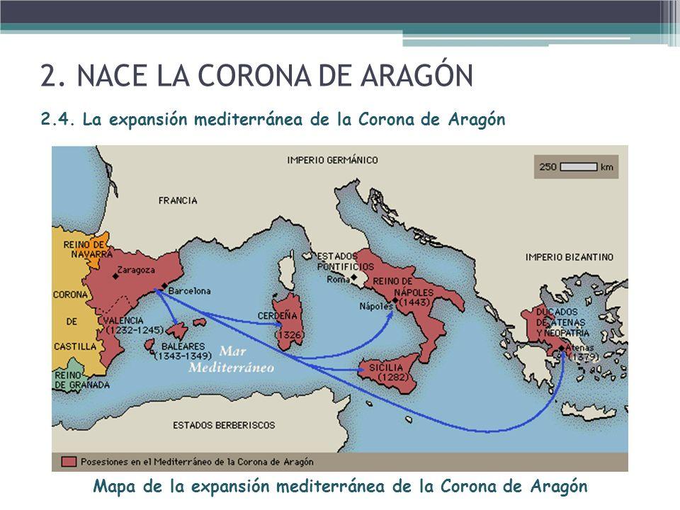 Mapa de la expansión mediterránea de la Corona de Aragón