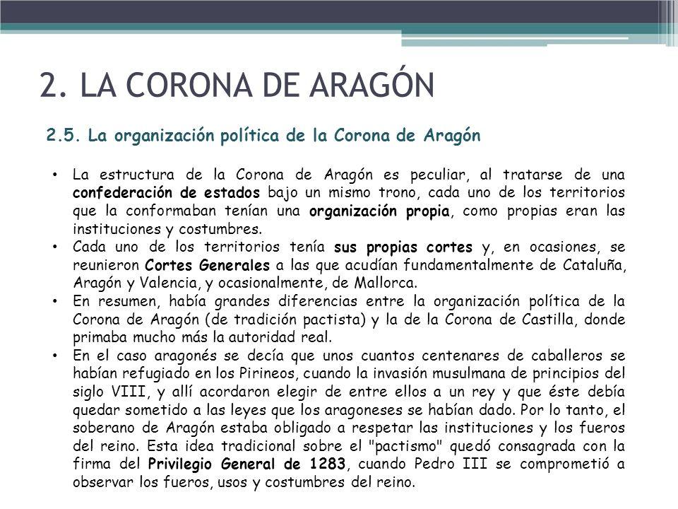 2. LA CORONA DE ARAGÓN 2.5. La organización política de la Corona de Aragón.
