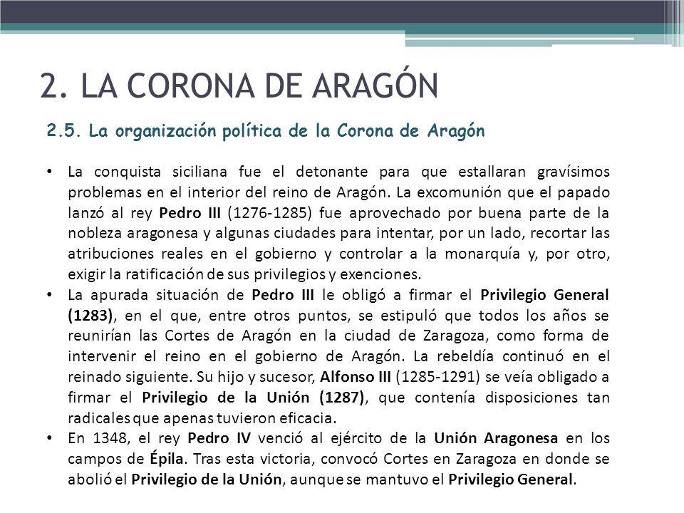 2. LA CORONA DE ARAGÓN2.5. La organización política de la Corona de Aragón.