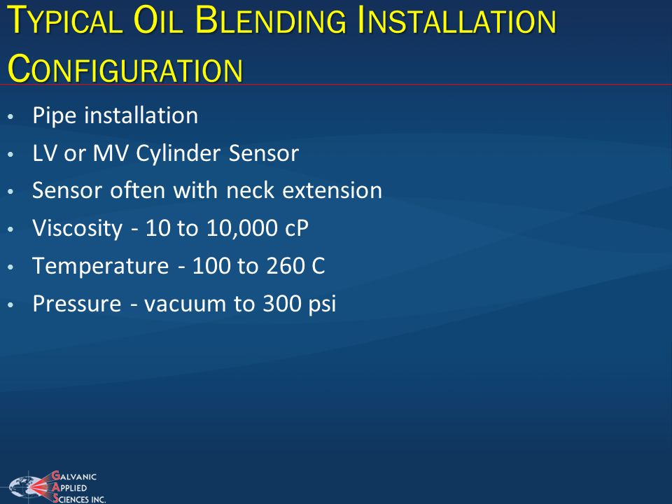 Typical Oil Blending Installation Configuration