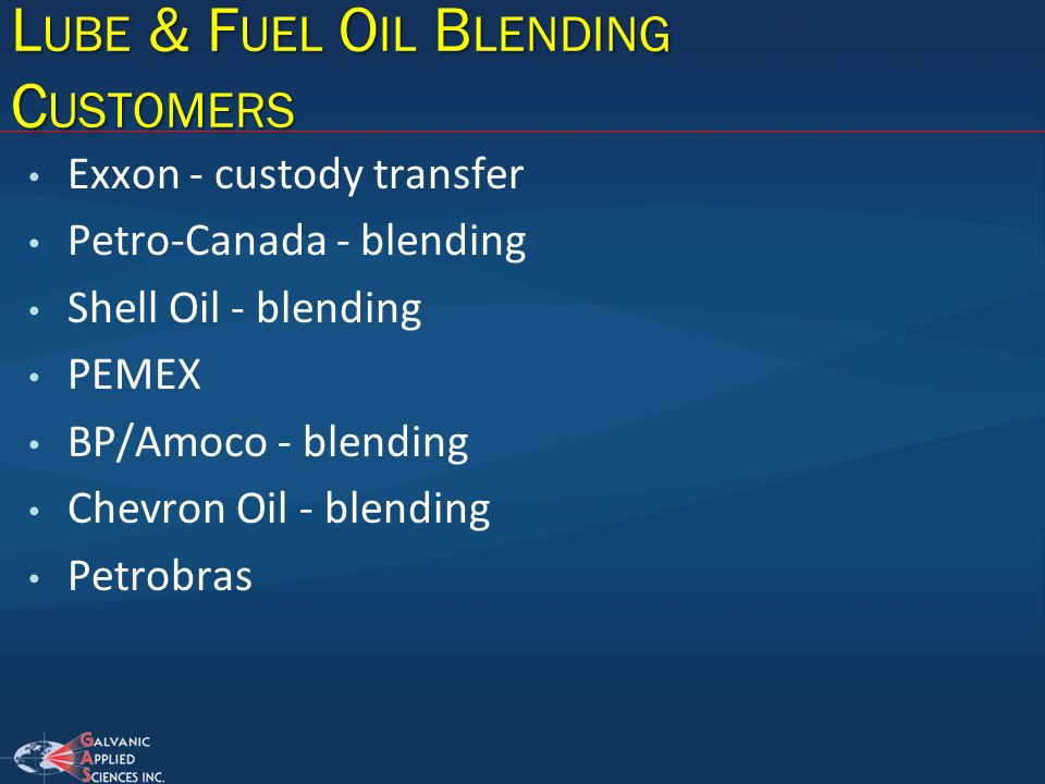 Lube & Fuel Oil Blending Customers