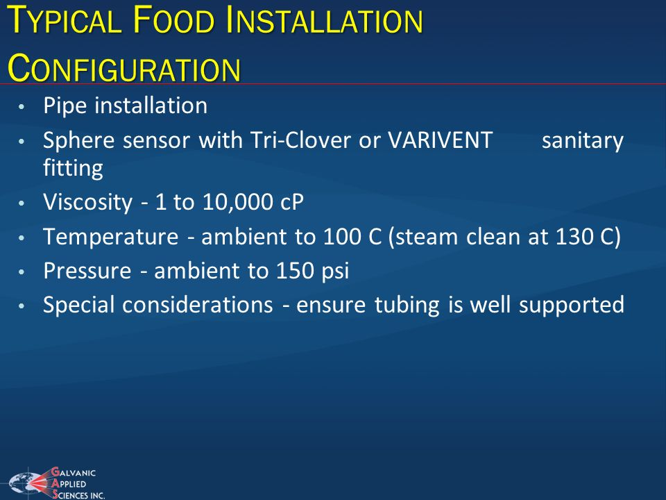 Typical Food Installation Configuration