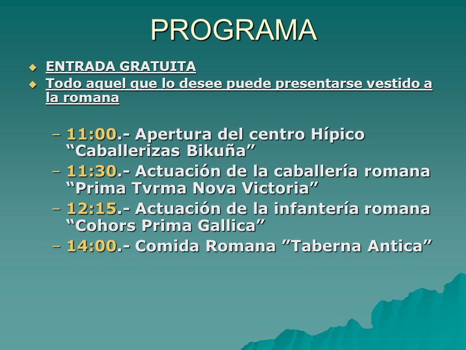 PROGRAMA 11:00.- Apertura del centro Hípico Caballerizas Bikuña