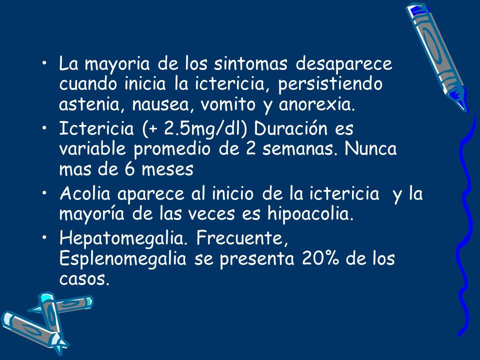 La mayoria de los sintomas desaparece cuando inicia la ictericia, persistiendo astenia, nausea, vomito y anorexia.