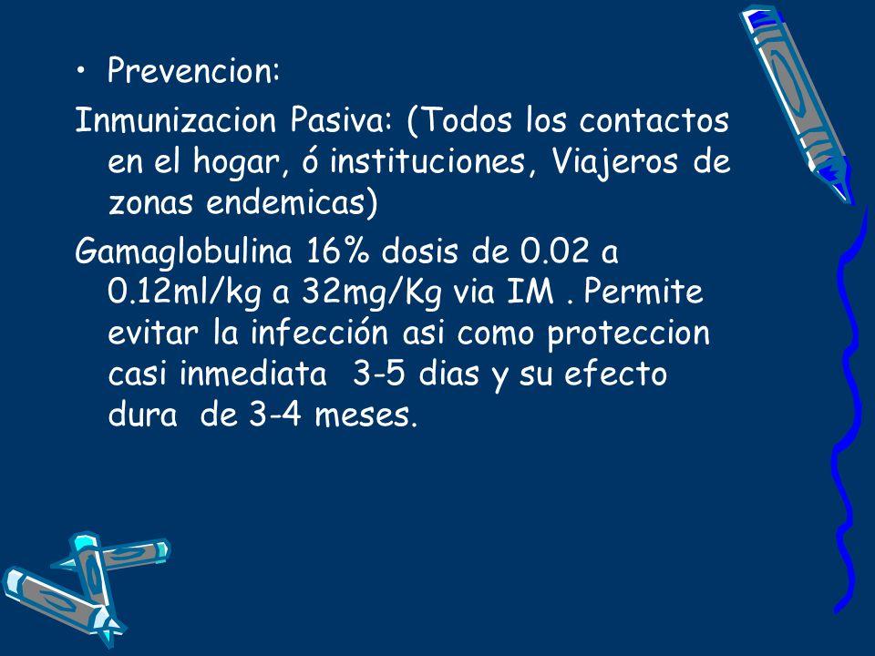 Prevencion: Inmunizacion Pasiva: (Todos los contactos en el hogar, ó instituciones, Viajeros de zonas endemicas)