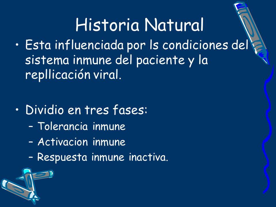 Historia Natural Esta influenciada por ls condiciones del sistema inmune del paciente y la repllicación viral.
