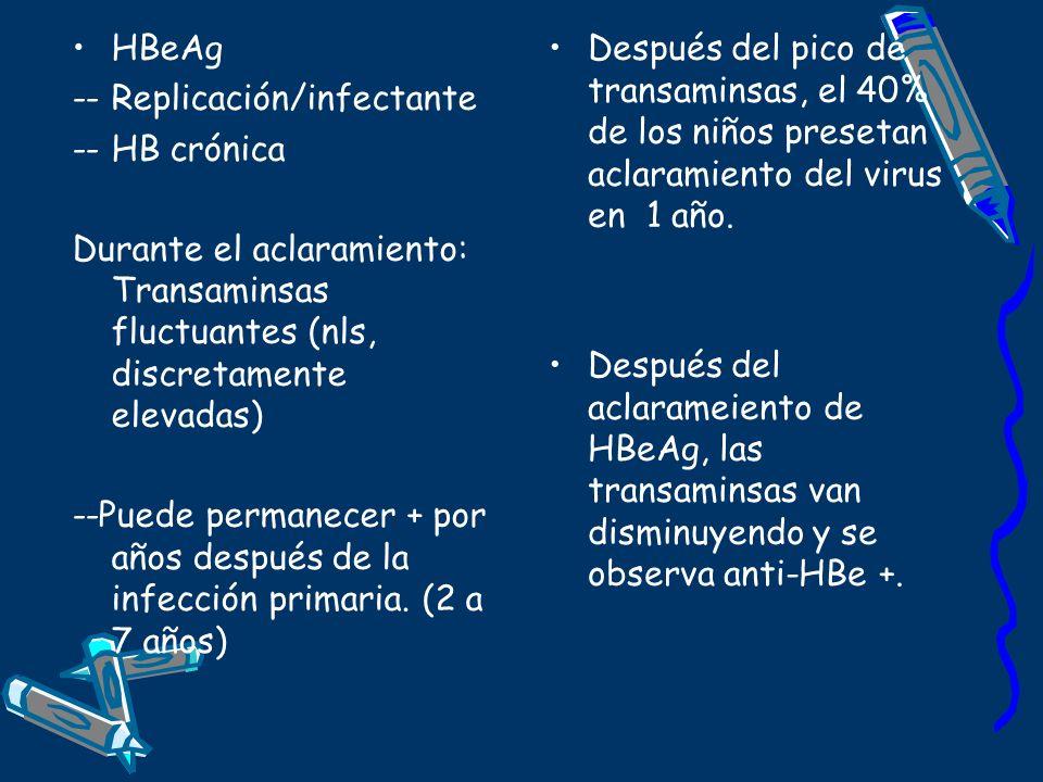 HBeAg -- Replicación/infectante. -- HB crónica. Durante el aclaramiento: Transaminsas fluctuantes (nls, discretamente elevadas)