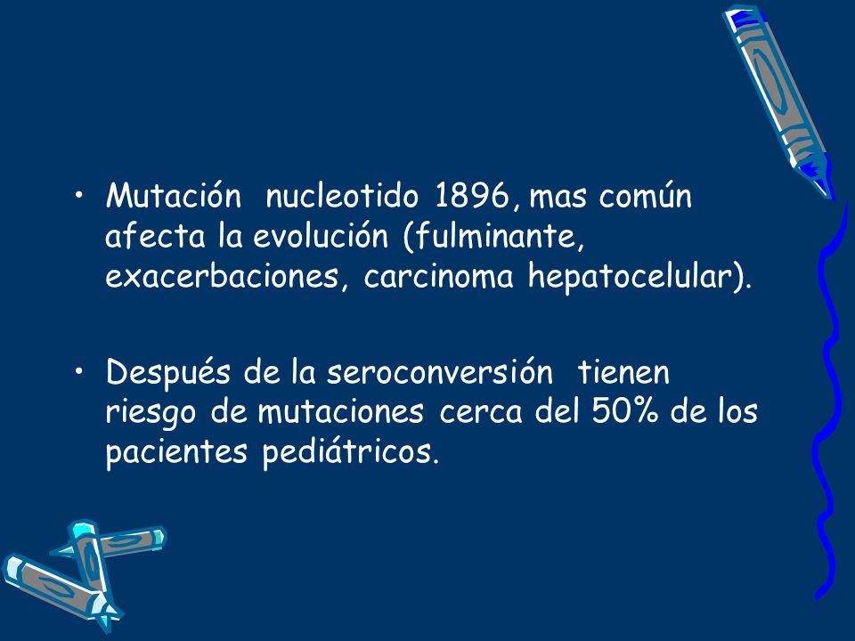 Mutación nucleotido 1896, mas común afecta la evolución (fulminante, exacerbaciones, carcinoma hepatocelular).