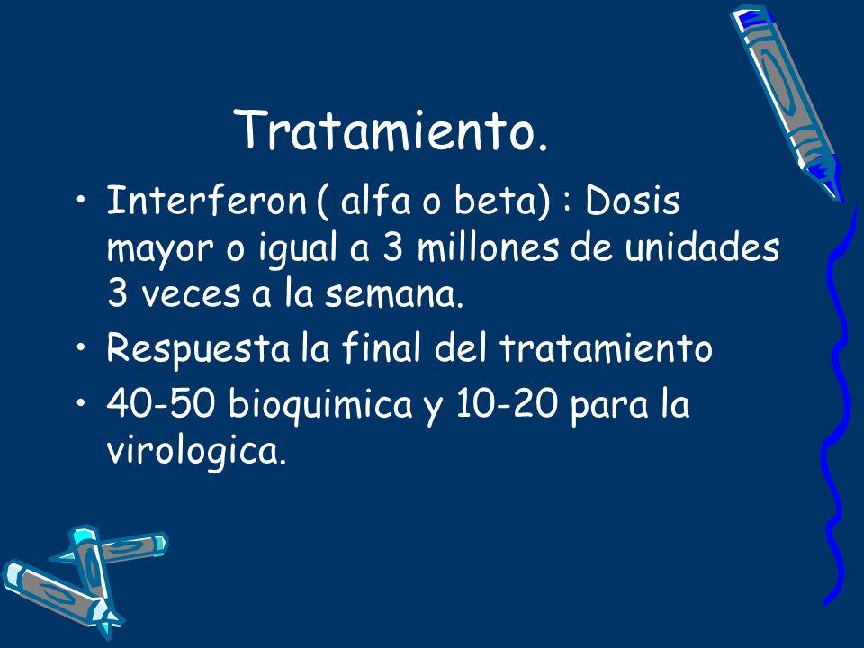 Tratamiento. Interferon ( alfa o beta) : Dosis mayor o igual a 3 millones de unidades 3 veces a la semana.