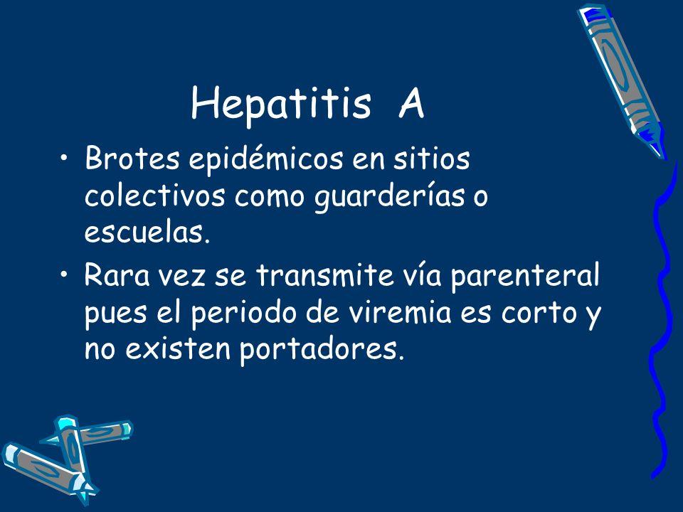 Hepatitis A Brotes epidémicos en sitios colectivos como guarderías o escuelas.