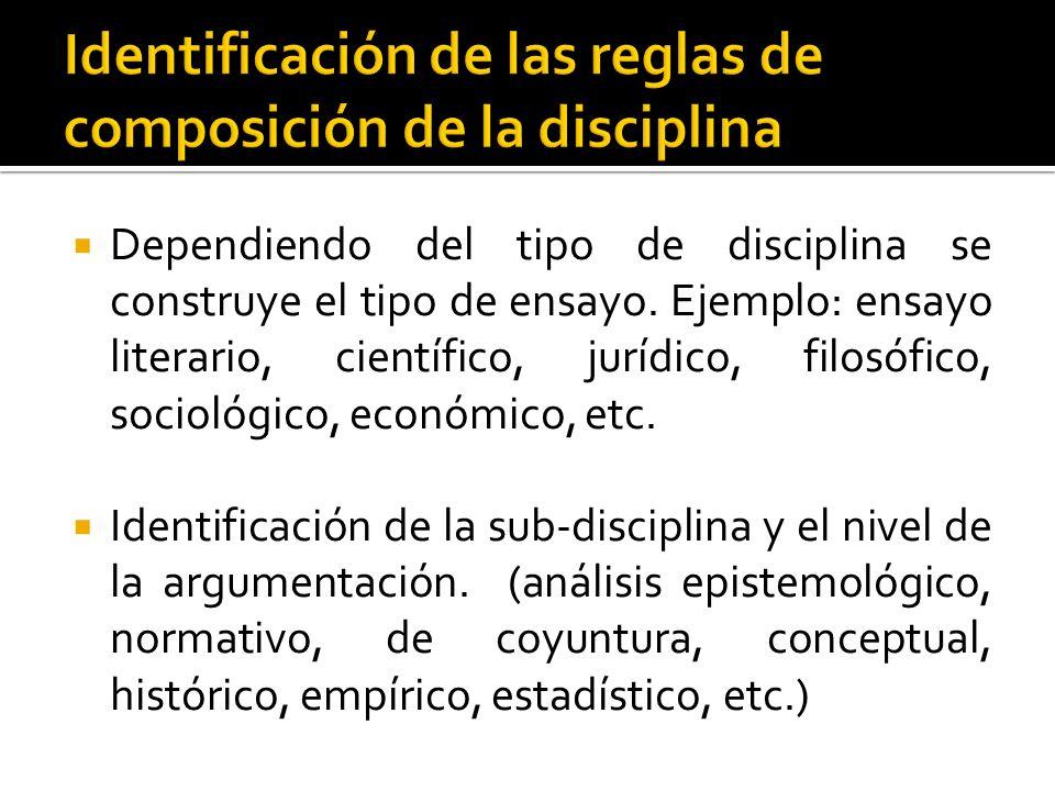 Identificación de las reglas de composición de la disciplina
