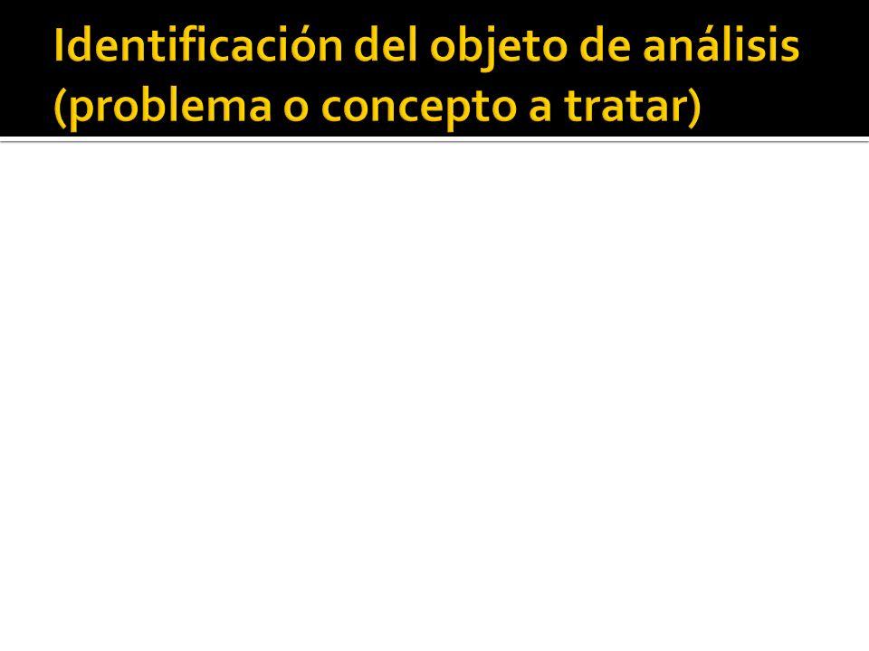 Identificación del objeto de análisis (problema o concepto a tratar)