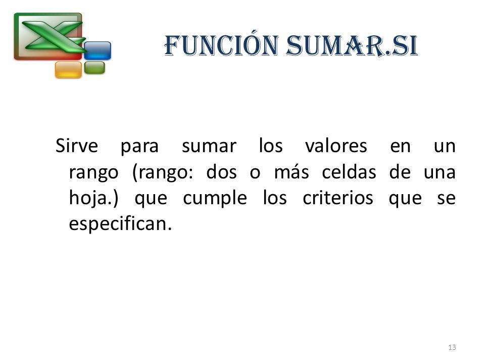 FUNCIÓN SUMAR.SISirve para sumar los valores en un rango (rango: dos o más celdas de una hoja.) que cumple los criterios que se especifican.