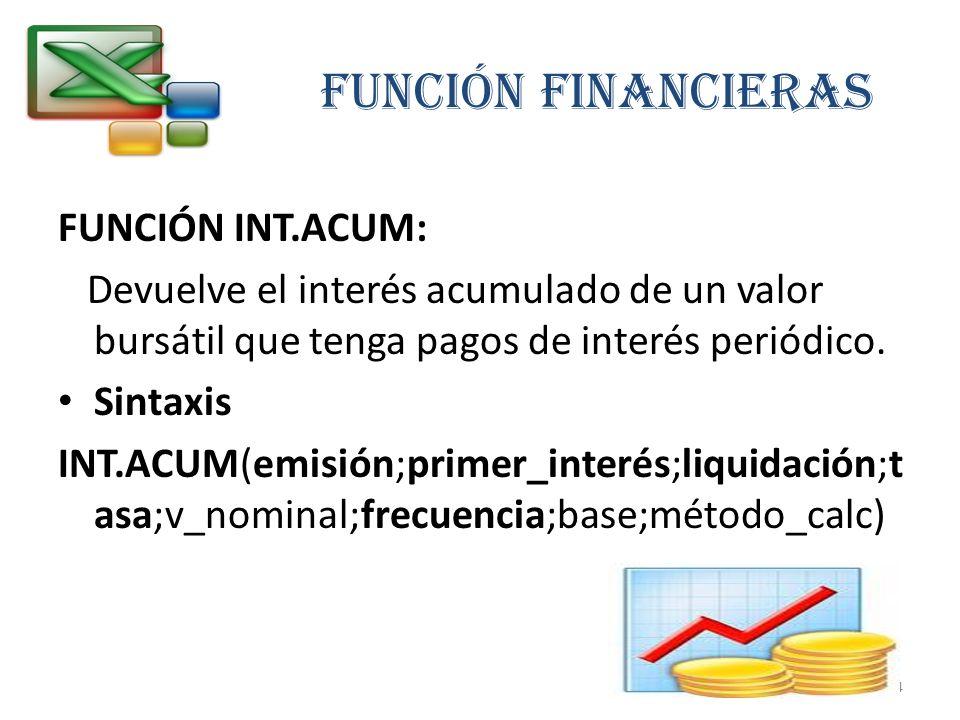FUNCIÓN FINANCIERAS FUNCIÓN INT.ACUM:
