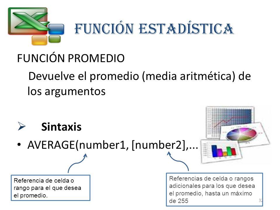 FUNCIÓN estadística FUNCIÓN PROMEDIO
