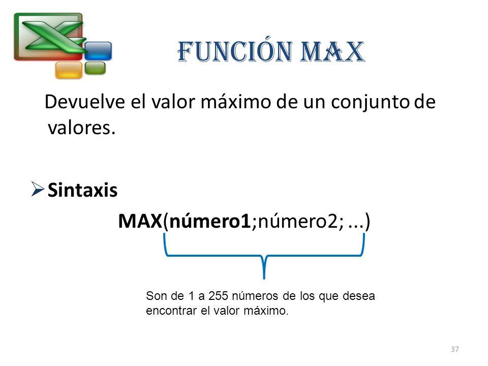 Función MAX Devuelve el valor máximo de un conjunto de valores.