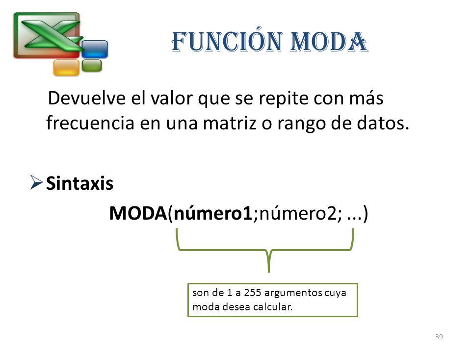 FUNCIÓN MODA Devuelve el valor que se repite con más frecuencia en una matriz o rango de datos. Sintaxis.