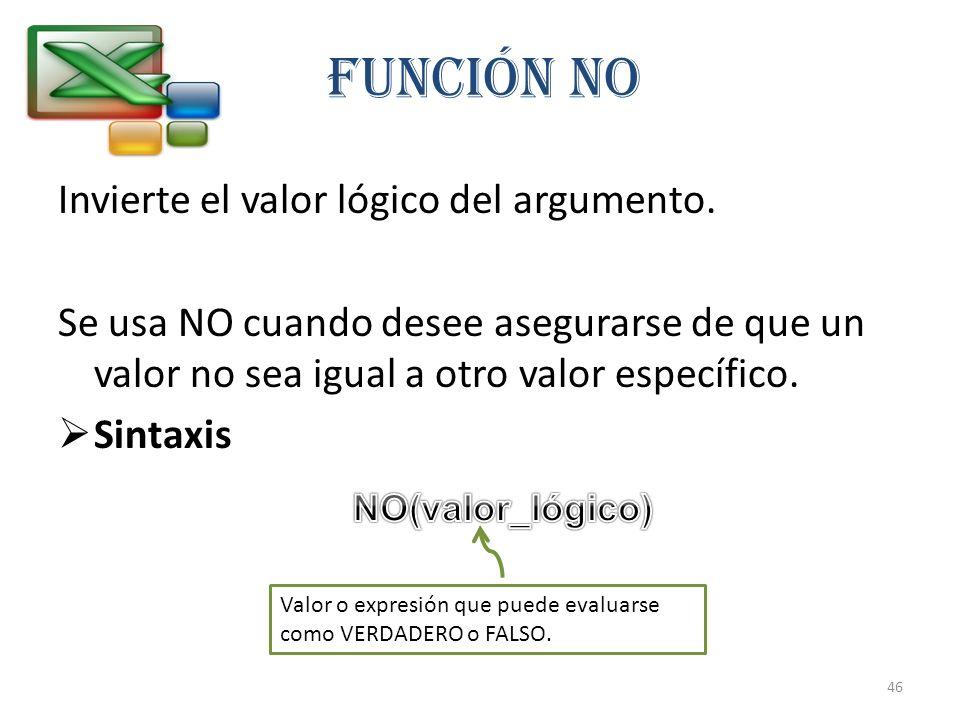 Función NO Invierte el valor lógico del argumento.