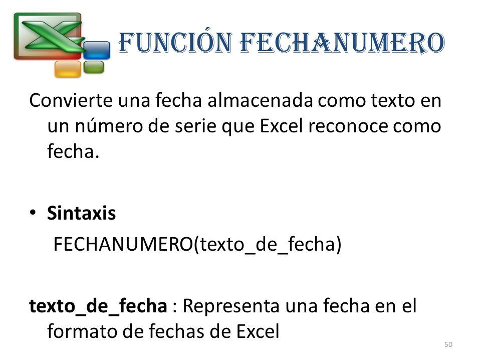 FUNCIÓN FECHANUMERO Convierte una fecha almacenada como texto en un número de serie que Excel reconoce como fecha.