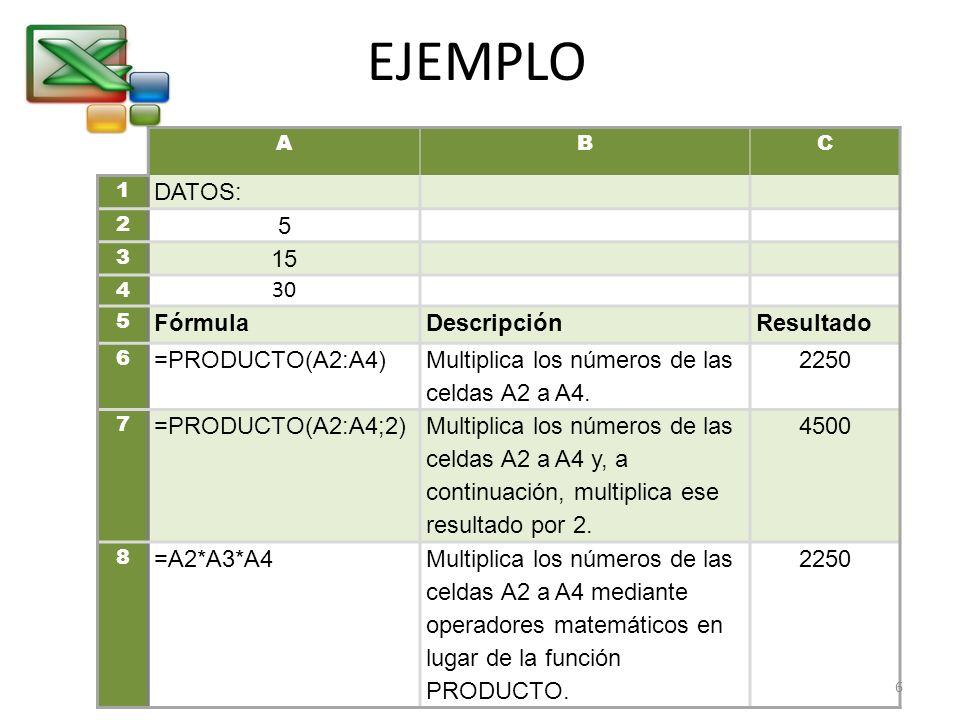 EJEMPLO DATOS: 5 15 30 Fórmula Descripción Resultado =PRODUCTO(A2:A4)