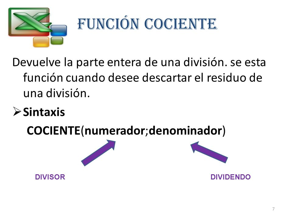 FUNCIÓN COCIENTEDevuelve la parte entera de una división. se esta función cuando desee descartar el residuo de una división.