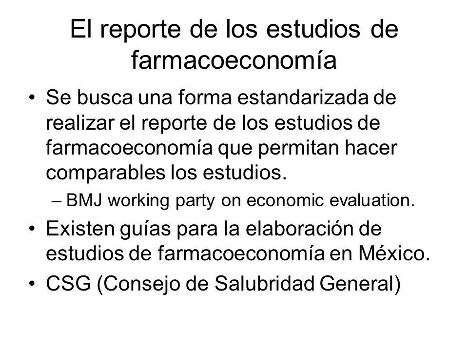El reporte de los estudios de farmacoeconomía