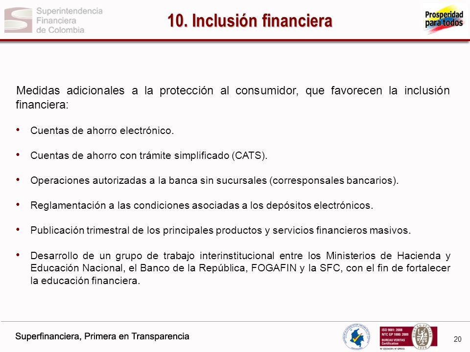 10. Inclusión financiera Medidas adicionales a la protección al consumidor, que favorecen la inclusión financiera: