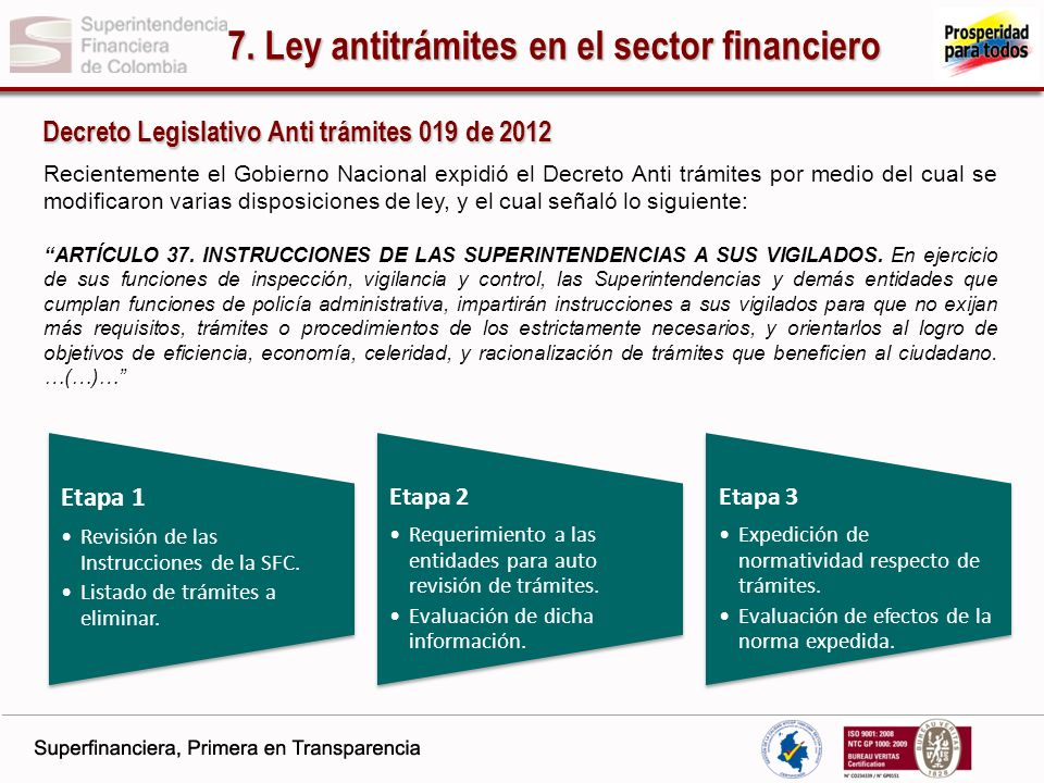 7. Ley antitrámites en el sector financiero